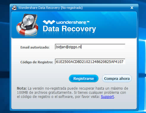 email y serial de data recovery